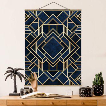 Stoffbild mit Posterleisten - Elisabeth Fredriksson - Art Deco Gold - Hochformat 4:3
