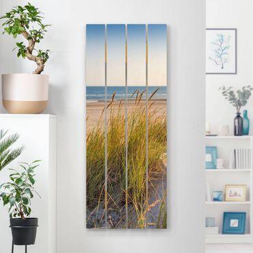 Holzbild - Stranddüne am Meer - Hochformat 5:2