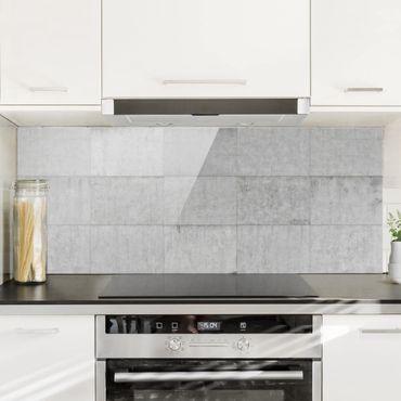 Spritzschutz Glas - Beton Ziegeloptik grau - Panorama - 5:2