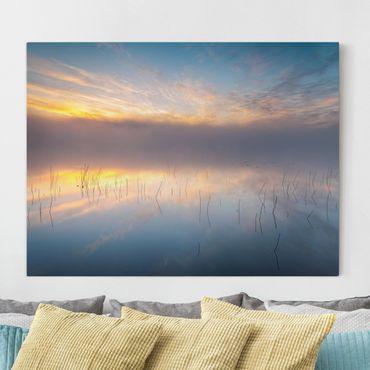 Leinwandbild - Sonnenaufgang schwedischer See - Querformat 3:4