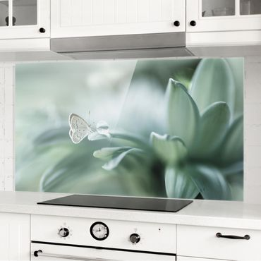 Spritzschutz Glas - Schmetterling und Tautropfen in Pastellgrün - Querformat - 2:1