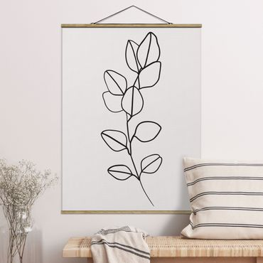 Stoffbild mit Posterleisten - Line Art Zweig Blätter Schwarz Weiß - Hochformat 4:3