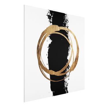 Forex Fine Art Print - Abstrakte Formen - Gold und Schwarz - Quadrat 1:1