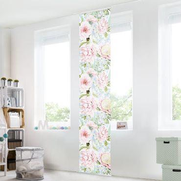 Schiebegardinen Set - Pastell Blumen Rosa Blau - 6 Flächenvorhänge