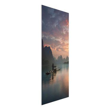 Forex Fine Art Print - Sonnenaufgang über chinesischem Fluss - Panel