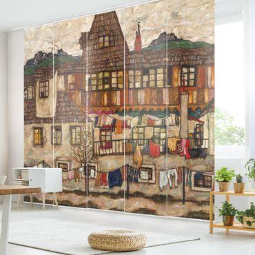 Schiebegardinen Set - Egon Schiele - Häuser mit trocknender Wäsche - Flächenvorhänge