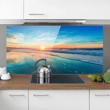 Spritzschutz Glas - Romantischer Sonnenuntergang am Meer - Querformat - 2:1