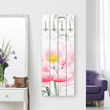 Wandgarderobe Holz - Zeichnung Rosa Päonien I - Haken chrom Hochformat