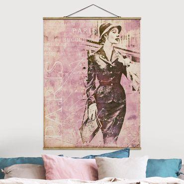 Stoffbild mit Posterleisten - Vintage Collage - Pariserin - Hochformat 4:3