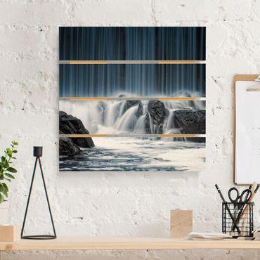 Holzbild - Wasserfall in Finnland - Quadrat 1:1