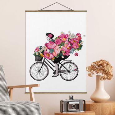 Stoffbild mit Posterleisten - Laura Graves - Illustration Frau auf Fahrrad Collage bunte Blumen - Hochformat 4:3