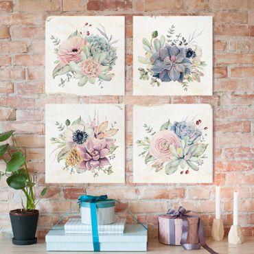 Leinwandbild 4-teilig - Aquarell Blumen Landhaus