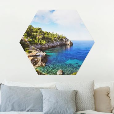 Hexagon Bild Alu-Dibond - Cala de Deia in Mallorca