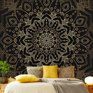 Fototapete - Mandala Blüte Muster gold schwarz - Fototapete Breit