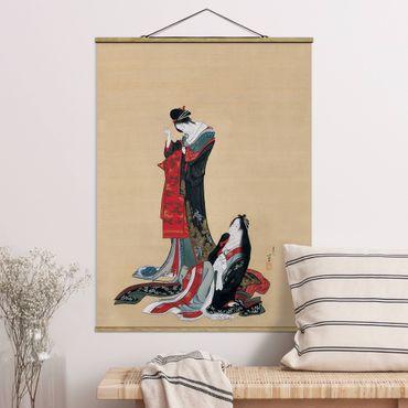 Stoffbild mit Posterleisten - Katsushika Hokusai - Zwei Kurtisanen - Hochformat 4:3