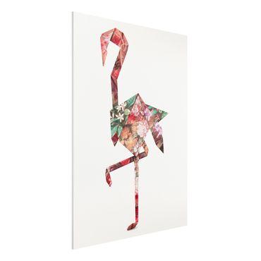 Forex Fine Art Print - Jonas Loose - Origami Flamingo - Hochformat 4:3