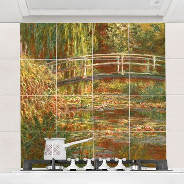Fliesenbild - Claude Monet - Seerosenteich und japanische Brücke (Harmonie in rosa) - Fliesensticker Set quadratisch
