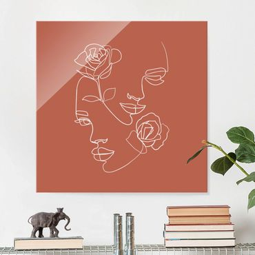 Glasbild - Line Art Gesichter Frauen Rosen Kupfer - Quadrat 1:1