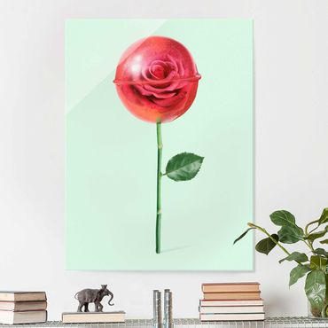 Glasbild - Jonas Loose - Rose mit Lollipop - Hochformat 4:3