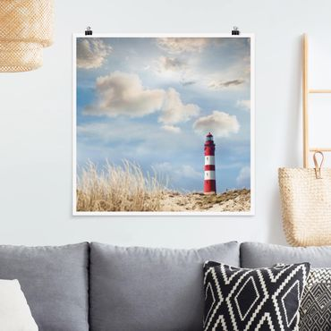 Poster - Leuchtturm in den Dünen - Quadrat 1:1
