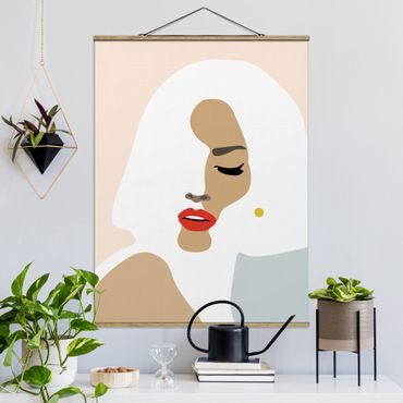 Stoffbild mit Posterleisten - Line Art Portrait Frau Pastell Beige - Hochformat 4:3