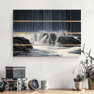 Holzbild - Wasserfall in Finnland - Querformat 2:3