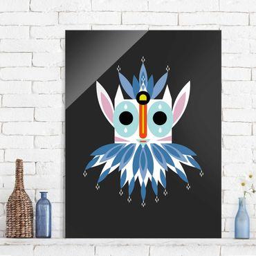 Glasbild - Collage Ethno Maske - Gnom - Hochformat 4:3
