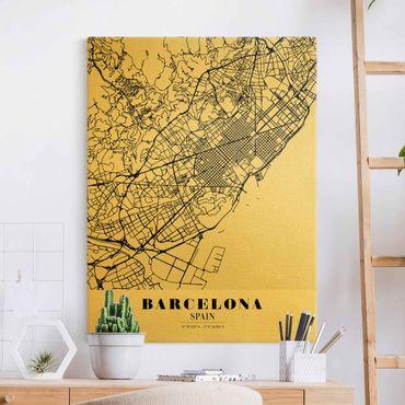 Leinwandbild Gold - Stadtplan Barcelona - Klassik - Hochformat 3:4