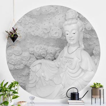Runde Tapete selbstklebend - Edle Buddhastatue in Schwarz-Weiß