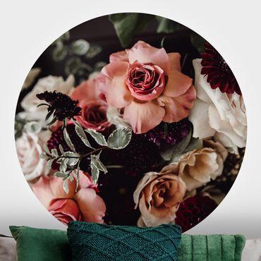 Runde Tapete selbstklebend - Edles Blumen Bouquet