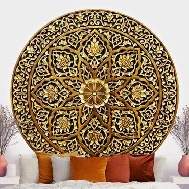 Runde Tapete selbstklebend - Edles Mandala in Holzoptik