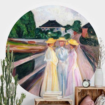 Runde Tapete selbstklebend - Edvard Munch - Drei Mädchen