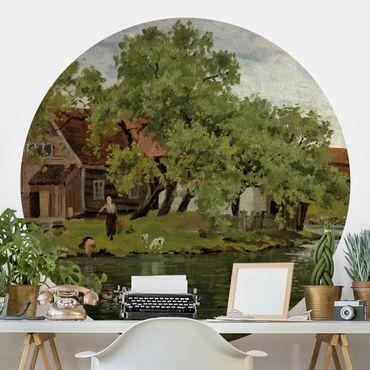 Runde Tapete selbstklebend - Edvard Munch - Fluss Akerselven