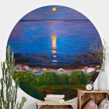 Runde Tapete selbstklebend - Edvard Munch - Sommernacht am Meeresstrand