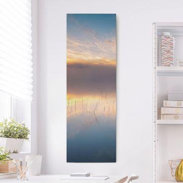 Leinwandbild - Sonnenaufgang schwedischer See - Panorama Hochformat 3:1
