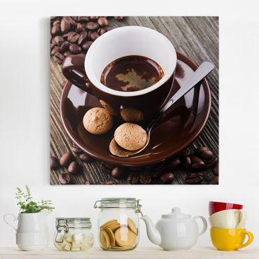 Leinwandbild - Kaffeetasse mit Kaffeebohnen - Quadrat 1:1