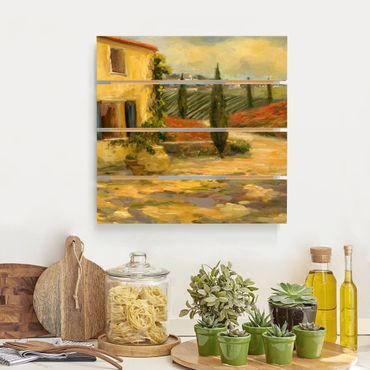 Holzbild - Italienische Landschaft - Toskana - Quadrat 1:1
