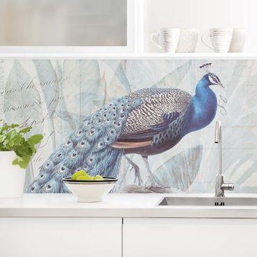 Küchenrückwand - Shabby Chic Collage - Pfau