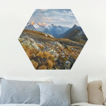Hexagon Bild Alu-Dibond - Col de Fenêtre Schweiz