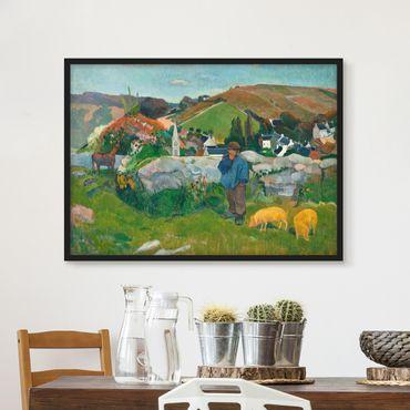 Bild mit Rahmen - Paul Gauguin - Der Schweinehirt - Querformat 3:4