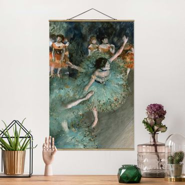 Stoffbild mit Posterleisten - Edgar Degas - Tänzerinnen in Grün - Hochformat 3:2