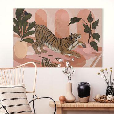 Leinwandbild - Illustration Tiger in Pastell Rosa Malerei - Querformat 2:3