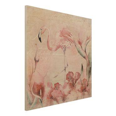 Holzbild - Shabby Chic Collage - Flamingo - Quadrat 1:1