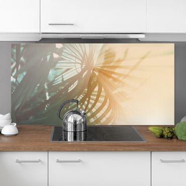 Spritzschutz Glas - Tropische Pflanzen Palmen bei Sonnenuntergang - Querformat 1:2