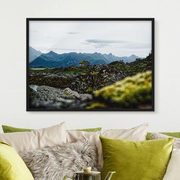 Bild mit Rahmen - Einsame Hütte in Norwegen - Querformat