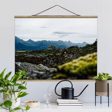 Stoffbild mit Posterleisten - Einsame Hütte in Norwegen - Querformat 4:3