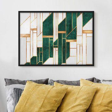 Bild mit Rahmen - Emerald und Gold Geometrie - Querformat