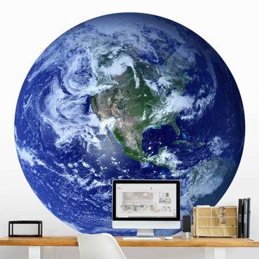 Runde Tapete selbstklebend - Erde im Weltall