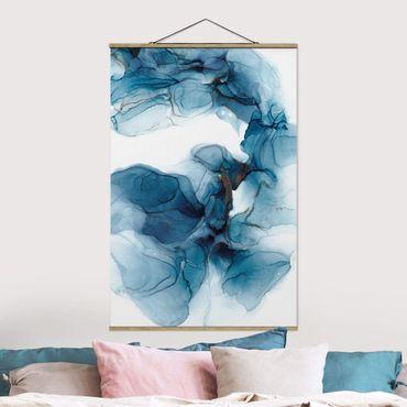 Stoffbild mit Posterleisten - Evolution Blau und Gold - Hochformat 2:3