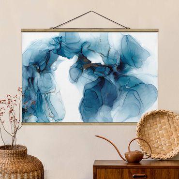 Stoffbild mit Posterleisten - Evolution Blau und Gold - Querformat 3:2